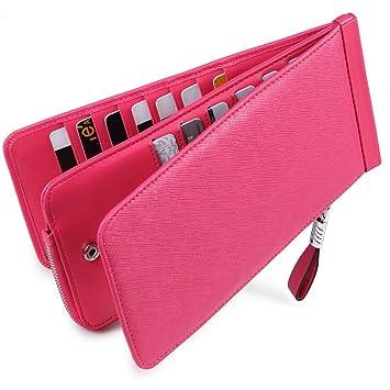 41bf135edcb3b Huztencor Geldbörse Damen Leder RFID Schutz Portemonnaie Geldbeutel  Brieftasche Kartenetui für Frauen Groß Lang mit Vielen