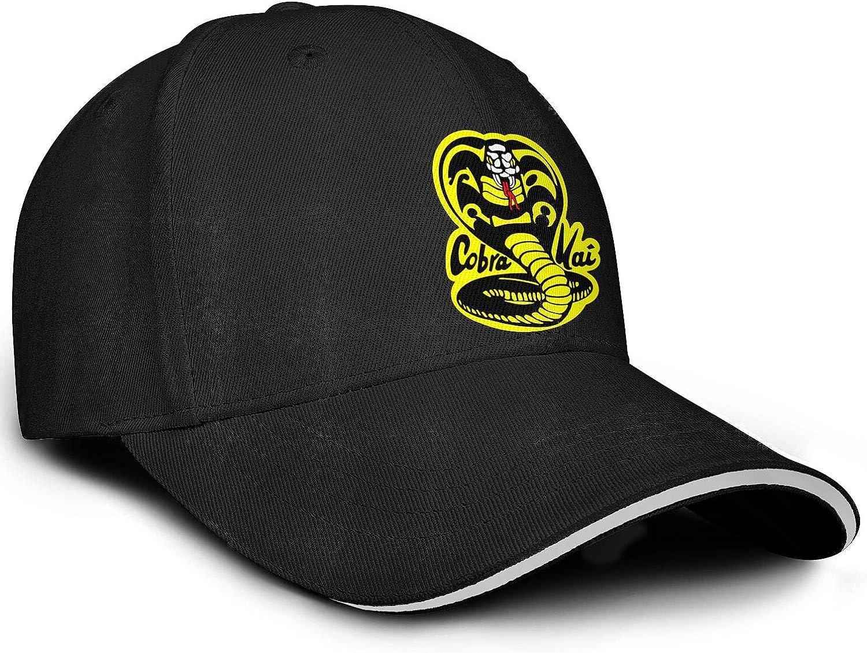 SHTHYTS Mens Black-Cobra-Kai-Snake-Logo-Adjustable Snapback Hat Cozy Travel Trucker Dad Baseball Cap