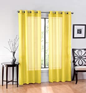 "Ruthy's Textile 2 Piece Voile Window Sheer Curtains Grommet Panels for Bedroom Decor & Living Room, Size 54"" X 84"" Yellow"