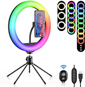 "10"" Selfie Ring Light with Tripod Stand, SEBIDER 26 Colors RGB Dimmable LED Ring Light with Phone Holder for Live Streaming/Video Shooting/MakeupYouTube/Tiktok, Compatible with iPhone/Android"