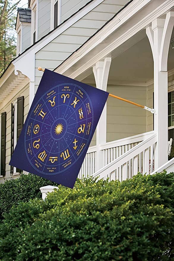 VAICR Bandera, Astrology Horoscope Zodiac Signs with Birth Dates in Circle with Star Dots Print Decorative Royal Blue and Yellow Decorative Garden Flag for Outdoor Lawn and Garden Ho: Amazon.es: Jardín