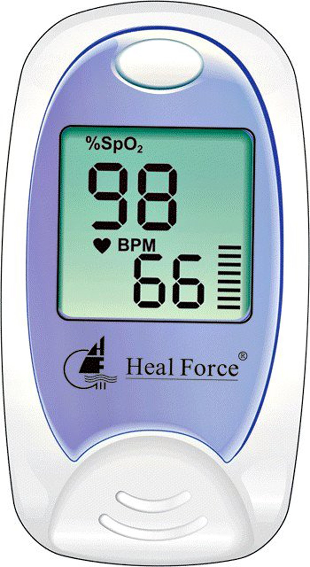 Heal Force Prince 100A Finger Pulse Oximeter Blood Oxygen Sensor SpO2 for Sports and Aviation. Portable and Lightweight with LCD Display, Lanyard and Pouch