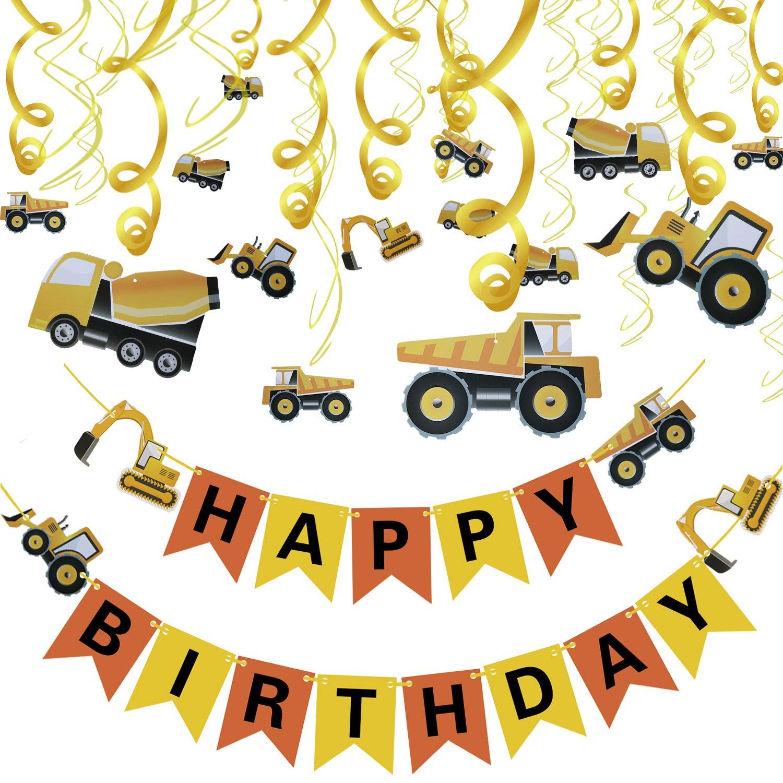 Phogary Conjunto de Decoraciones de Fiesta de cumpleaños 31PCS, Artículos para la Fiesta Tema de la construcción Bandera del Tractor Excavadoras ...
