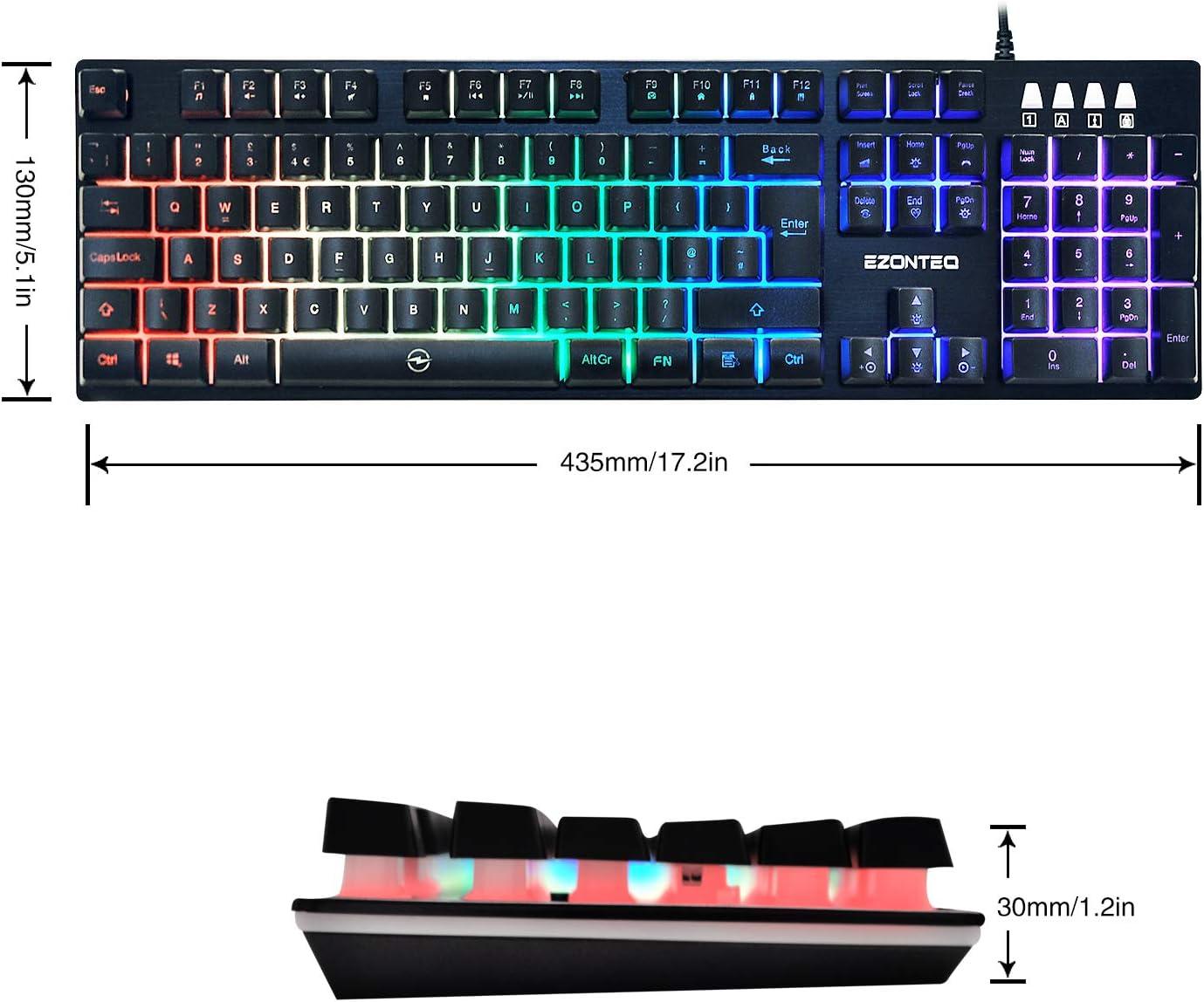 Teclado Mecánico RGB 104 Teclas US-Layout Keyboard USB con Cable LED de 6 colores Luz ajustableTeclado Gaming para PC Portátil Plug and play - Horsky