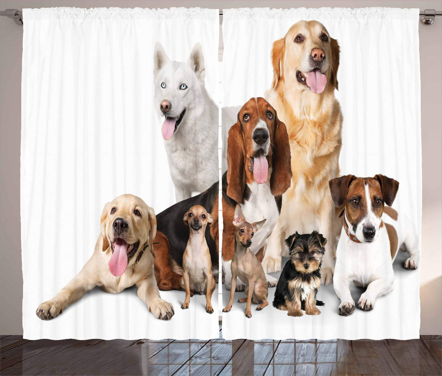 Group of Dogs Posing for Photo Shoot Portrait Togetherness Companionship Ambesonne Dog Lover Decor Collection 108 X 84 Inches Living Room Bedroom Curtain 2 Panels Set Brown Beige p/_10681/_108x84/_fba