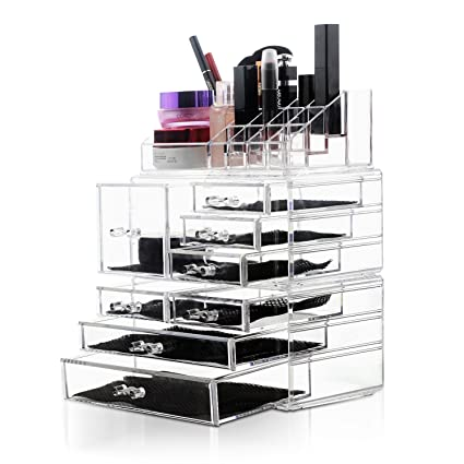 b86245e6ef31 Felicite Home Acrylic Jewelry and Cosmetic Storage Makeup Organizer Set,1  Top 8 Drawers, 3 Piece Set