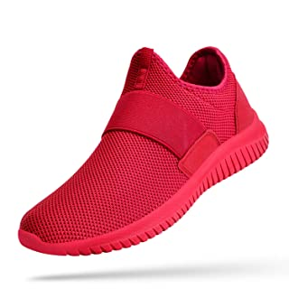 Troadlop Womens Sneakers Lacelaess Non Slip Workout Athletic Running Walking Gym Shoes Red 9.5
