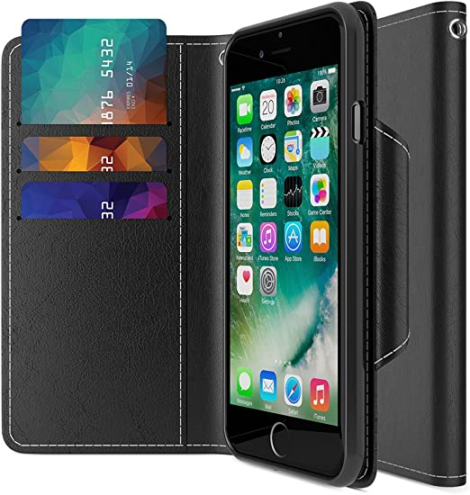Premium Leather Flip Cover with Card Slots Magnetic Closure Stand Feature TPU Shockproof Interior Case Compatible with iPhone 7//8 iPhone 8 Case Hot Pink Folio Style TUCCH iPhone 7 Wallet Case