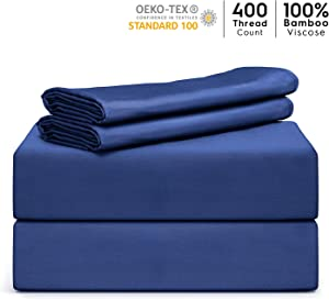 """Tafts Bamboo Sheets King Size - 100% Pure Organic Viscose Bamboo Sheet Set - 400TC Bamboo Bed Sheets - 4 Pieces - 17"""" Deep Pocket - Silk Feel, Cooling, Anti-Static, Hypoallergenic (Navy Blue)"""