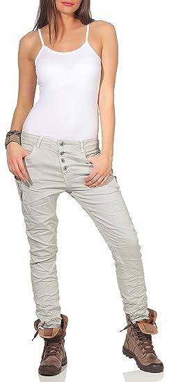 890f91ed61e8b0 KAROSTAR Damen Jeans Stretch Hose Chino Boyfriend Pants Hüftjeans 67 (40,  Hellgrau)