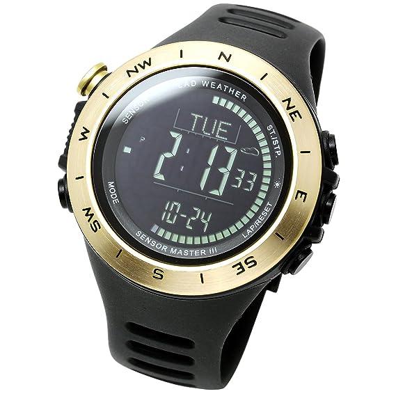 LAD WEATHER - Reloj multifuncional con altímetro, sensor suizo, barómetro, brújula digital, termómetro de pronóstico del tiempo, datos de pasos: Amazon.es: ...