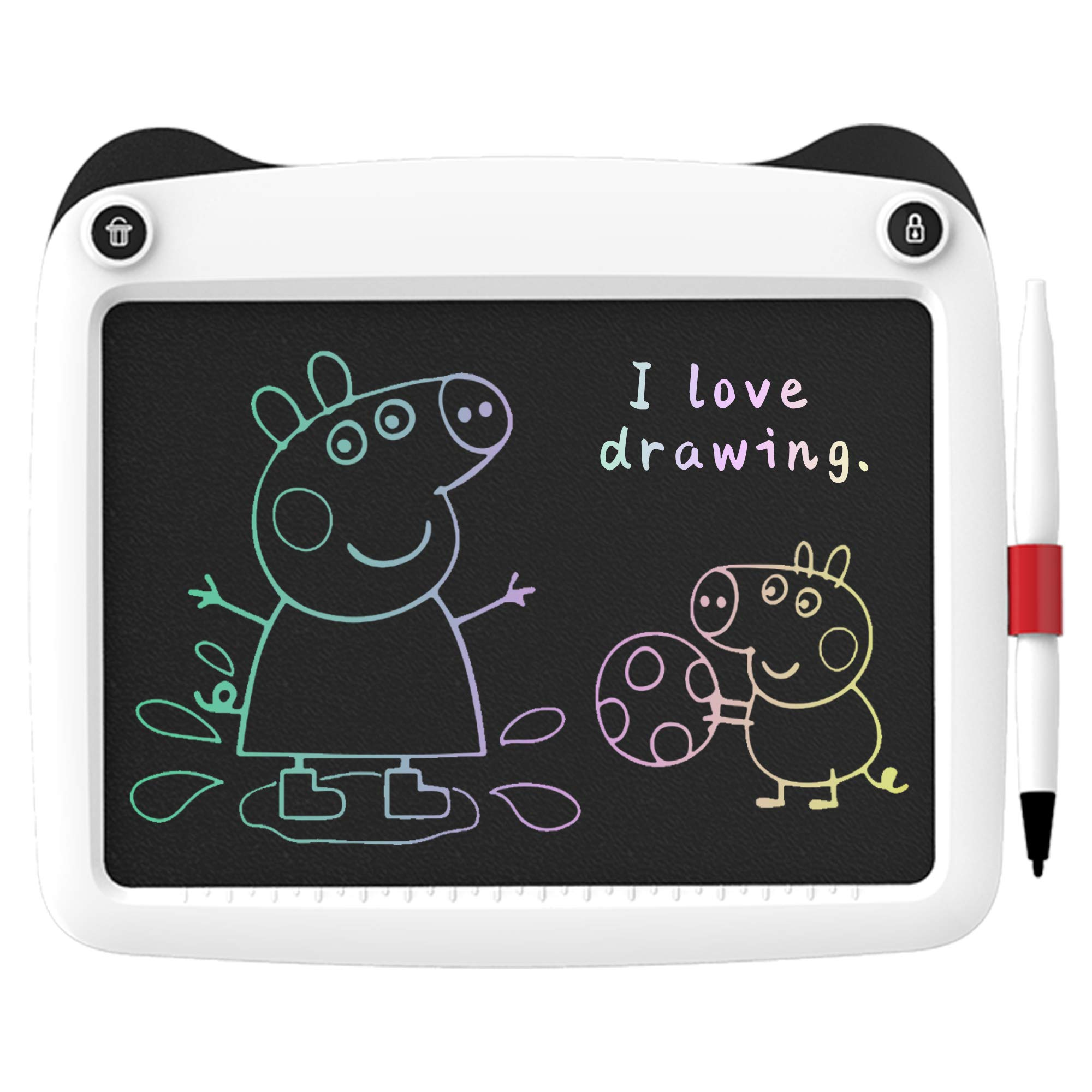 FLUESTON LCD Writing Board 9 Inch Drawing Tablet for Kids, e-Writer Doodle Board and Colorful Screen Scribble pad for Kids Ages 3+ (White)