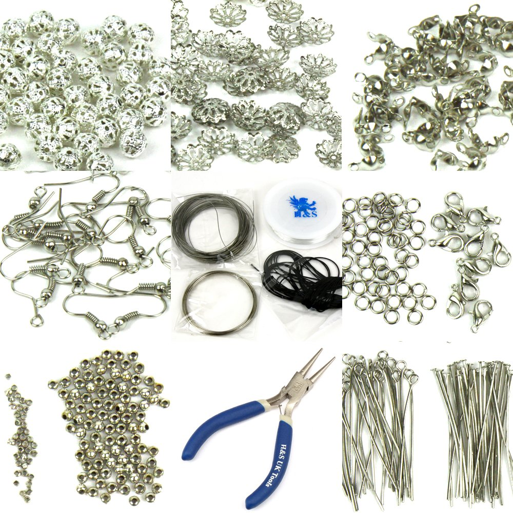 H&S® Findings Set Large Jewellery Making Kit Pliers Silver Beads ...