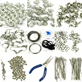 H&S® Findings Set Large Jewellery Making Kit Pliers Silver Beads Wire Starter Tool