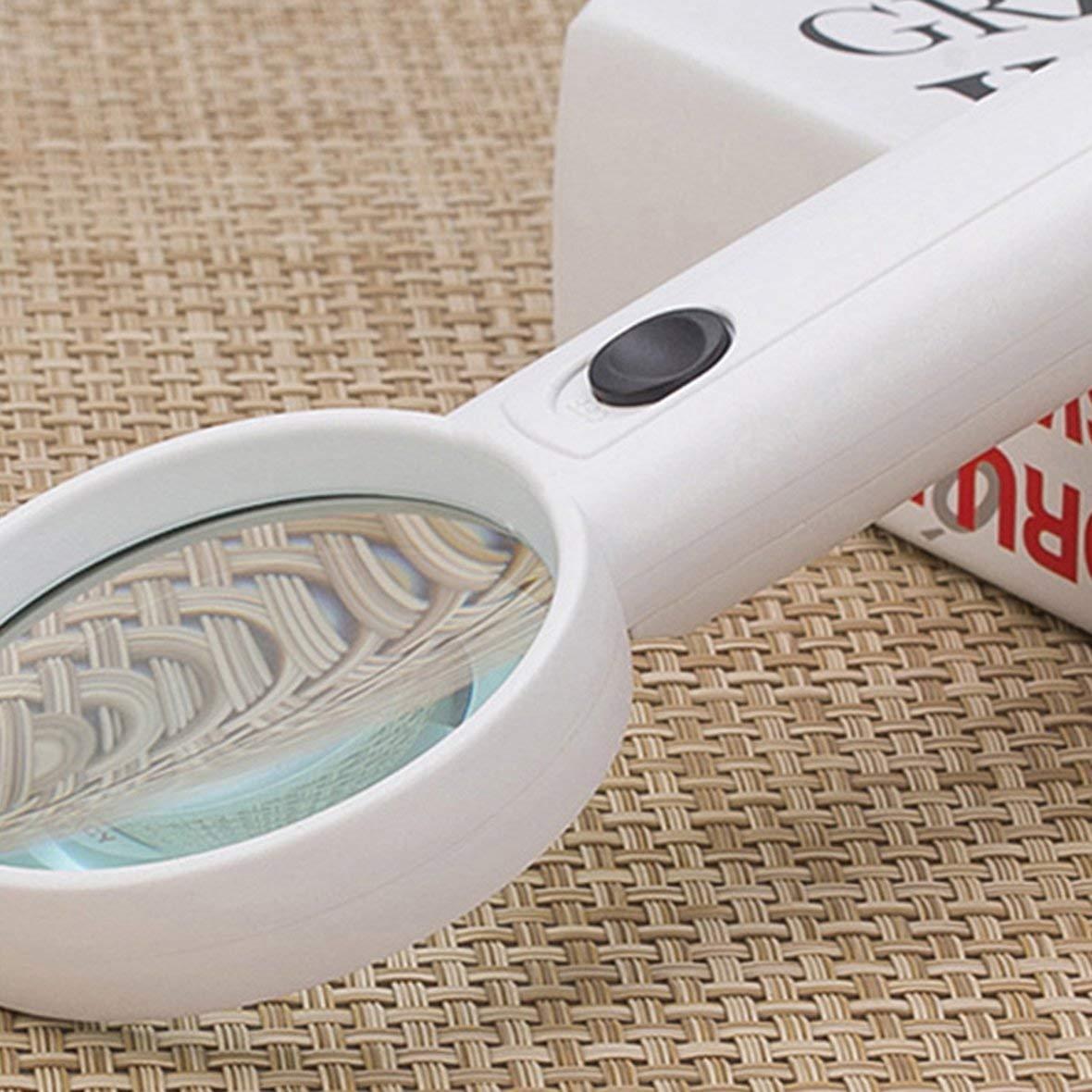 Heaviesk Lupa de Aumento 4X con 2 LED de luz Mini Bolsillo de Lectura Joyas Lupa Lupa Lupa