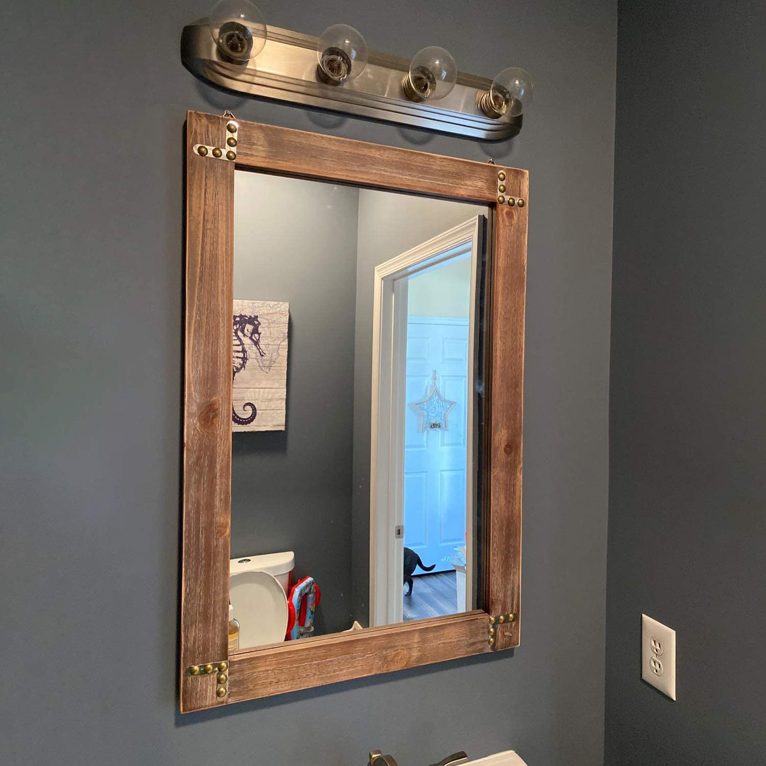 Amazon Com Mbqq Rustic Flat Wood Frame Hanging Wall Mirror Decorative Bathroom Mirrors For Wall Vanity Mirror Makeup Mirror 24 X 36 Furniture Decor