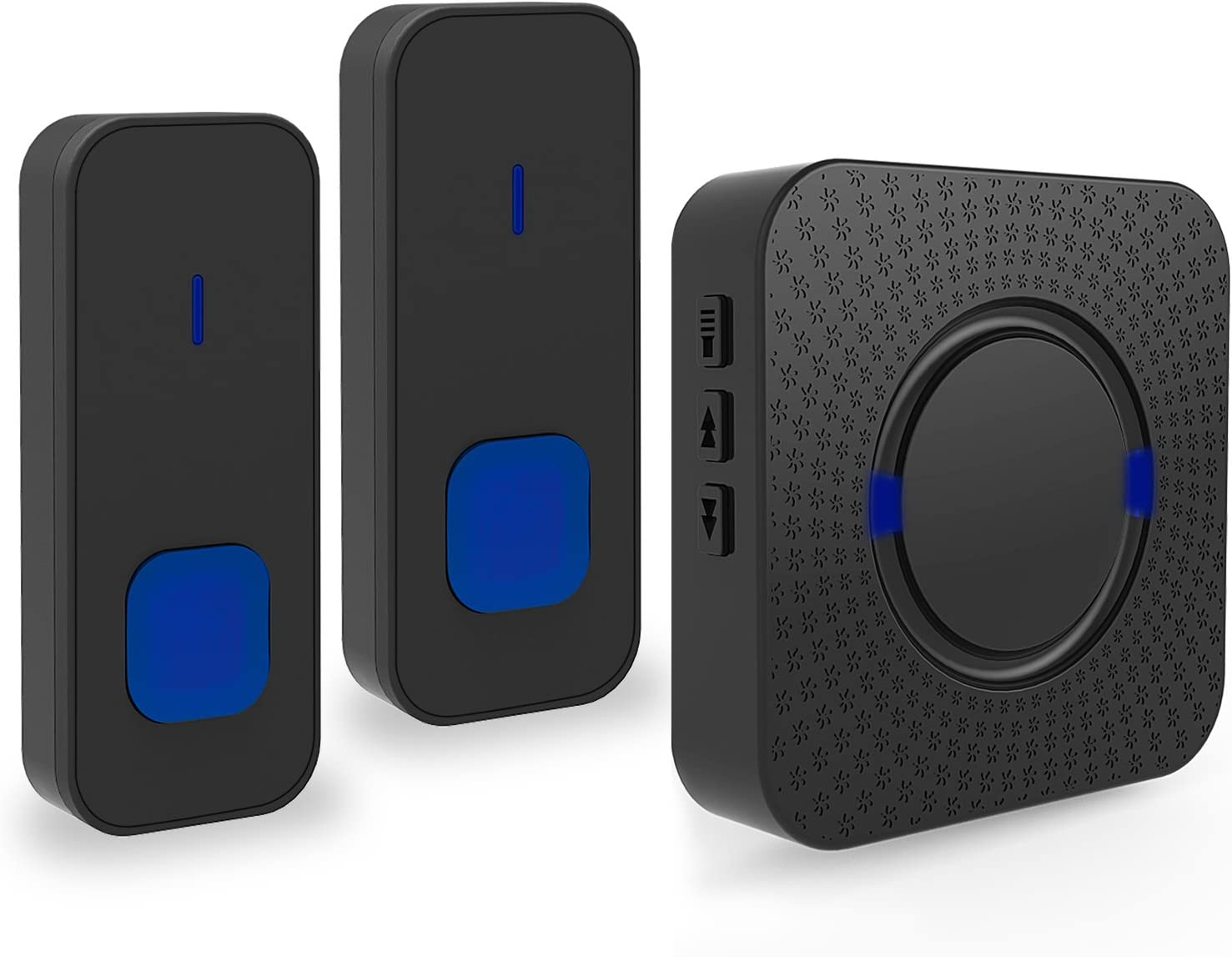 Timbre de puerta lanvy WiFi inalámbrico timbre resistente al agua radio EXTERIOR un receptor y dos emisor 55timbre de melodías–Negro