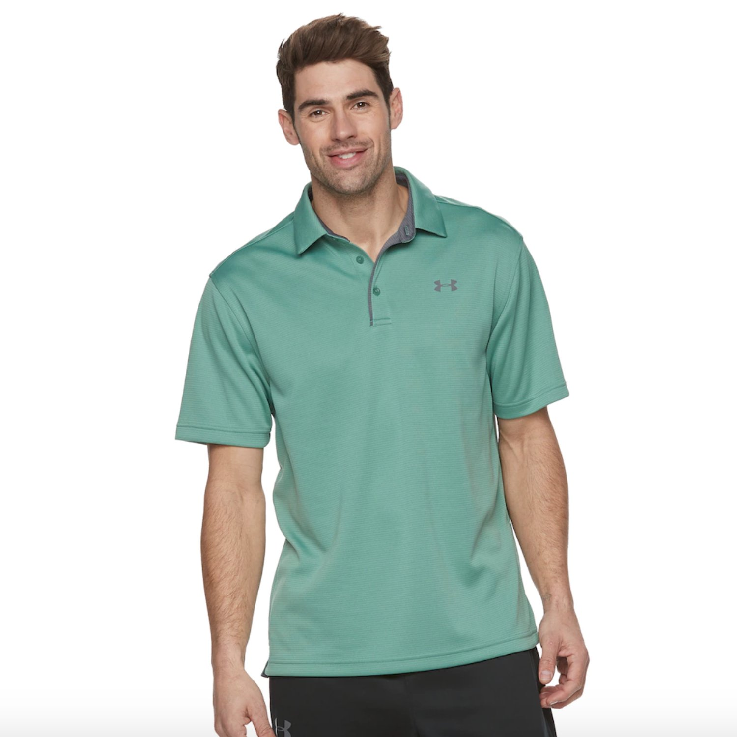 Under Armour Men's Tech Polo (Small, Aegean Green/Graphite)