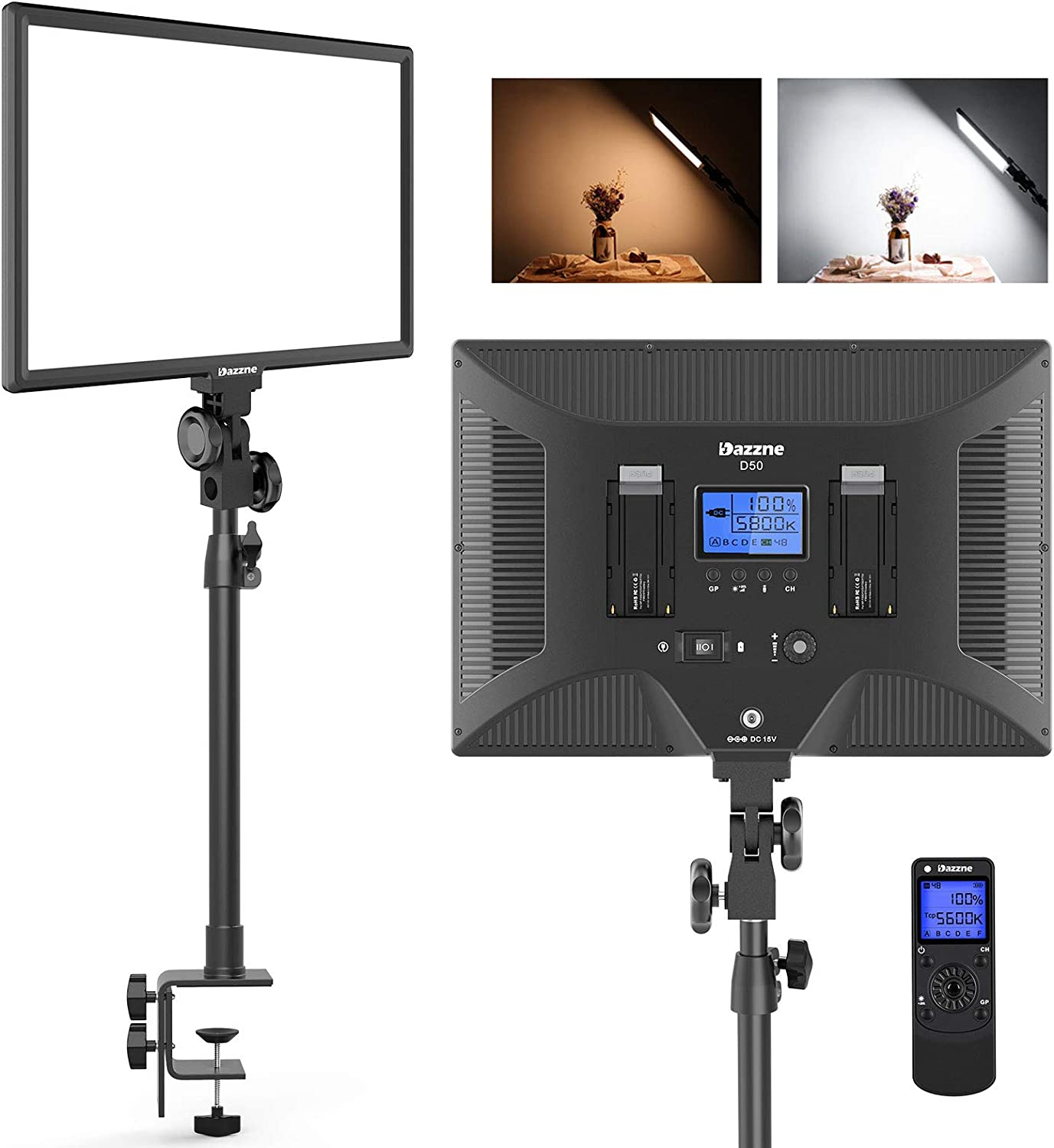 Dazzne D50 Led Video Light With C Table Clamps Video Camera Photo