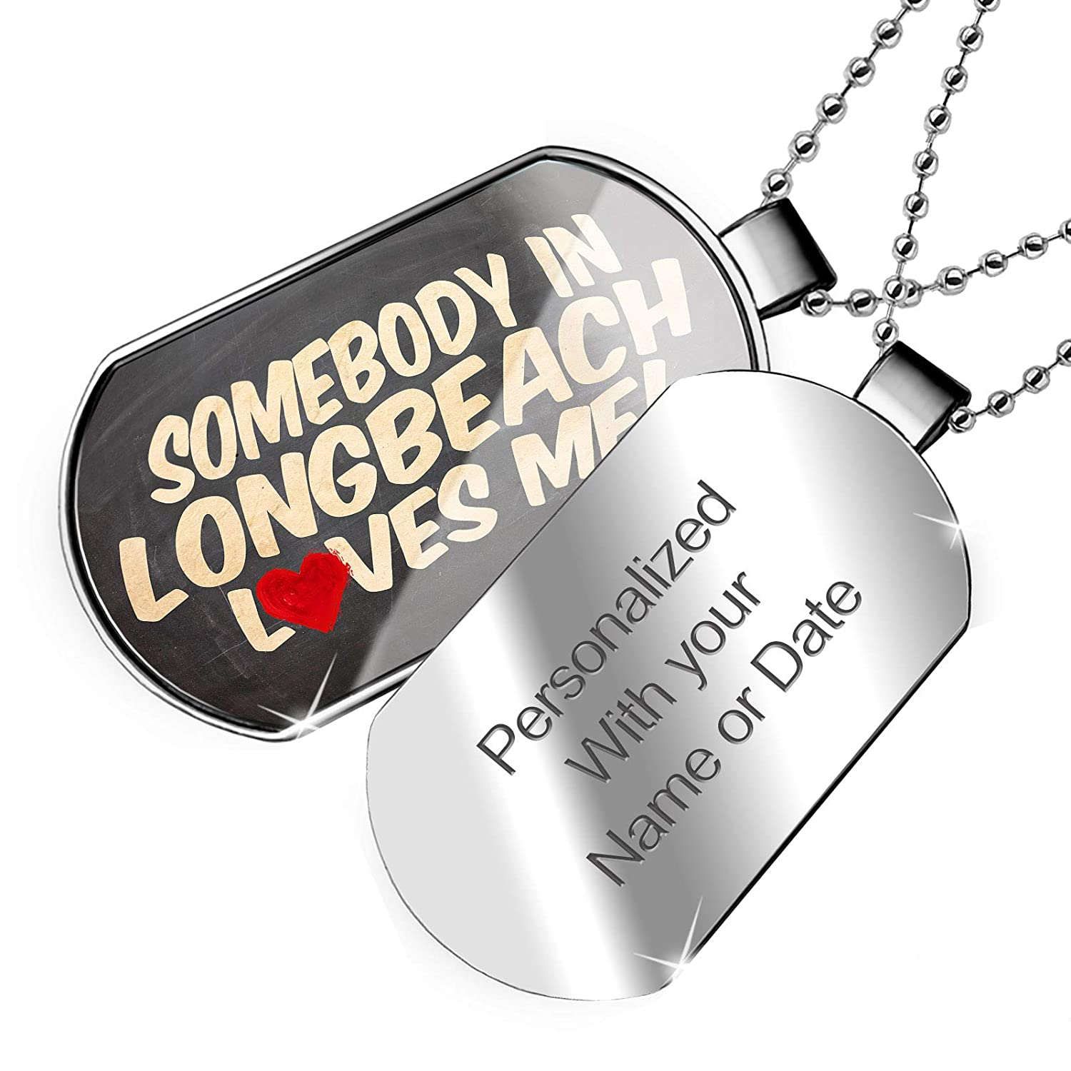 NEONBLOND Personalized Name Engraved Somebody in Longbeach Loves me California Dogtag Necklace