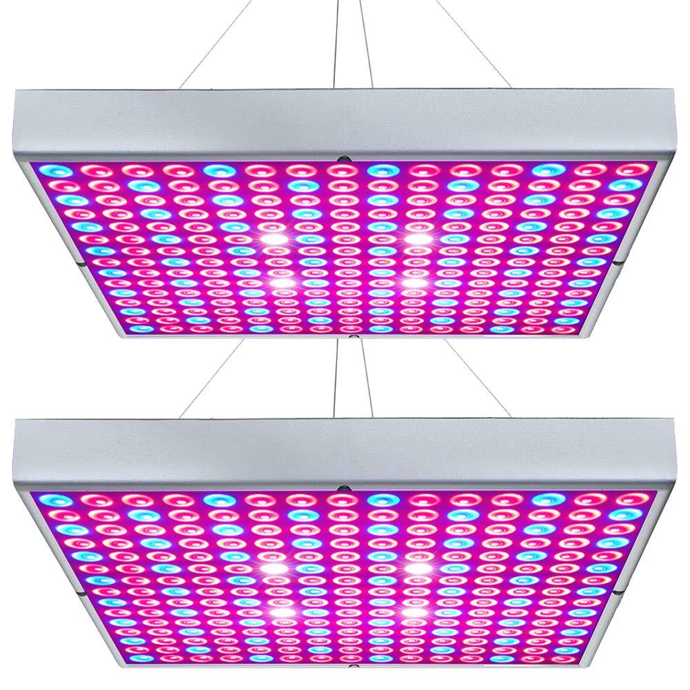 Hytekgro LED Grow Light 45W Plant Lights Red Blue White Panel Growing Lamps for Indoor Plants Seedling Vegetable and Flower (2 Pack) by Hytekgro