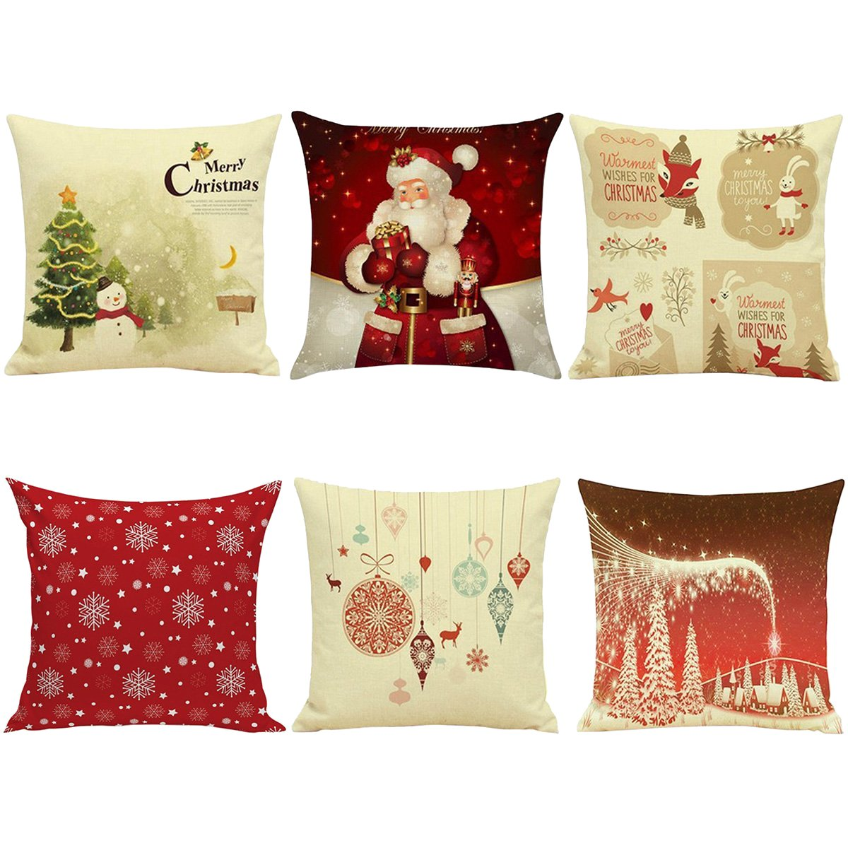 Hoomall Merry Christmas Cartoon Sofa Cushion Case Throw Pillow Cover 18x18 Inches without Core Set of 6 Ourstory