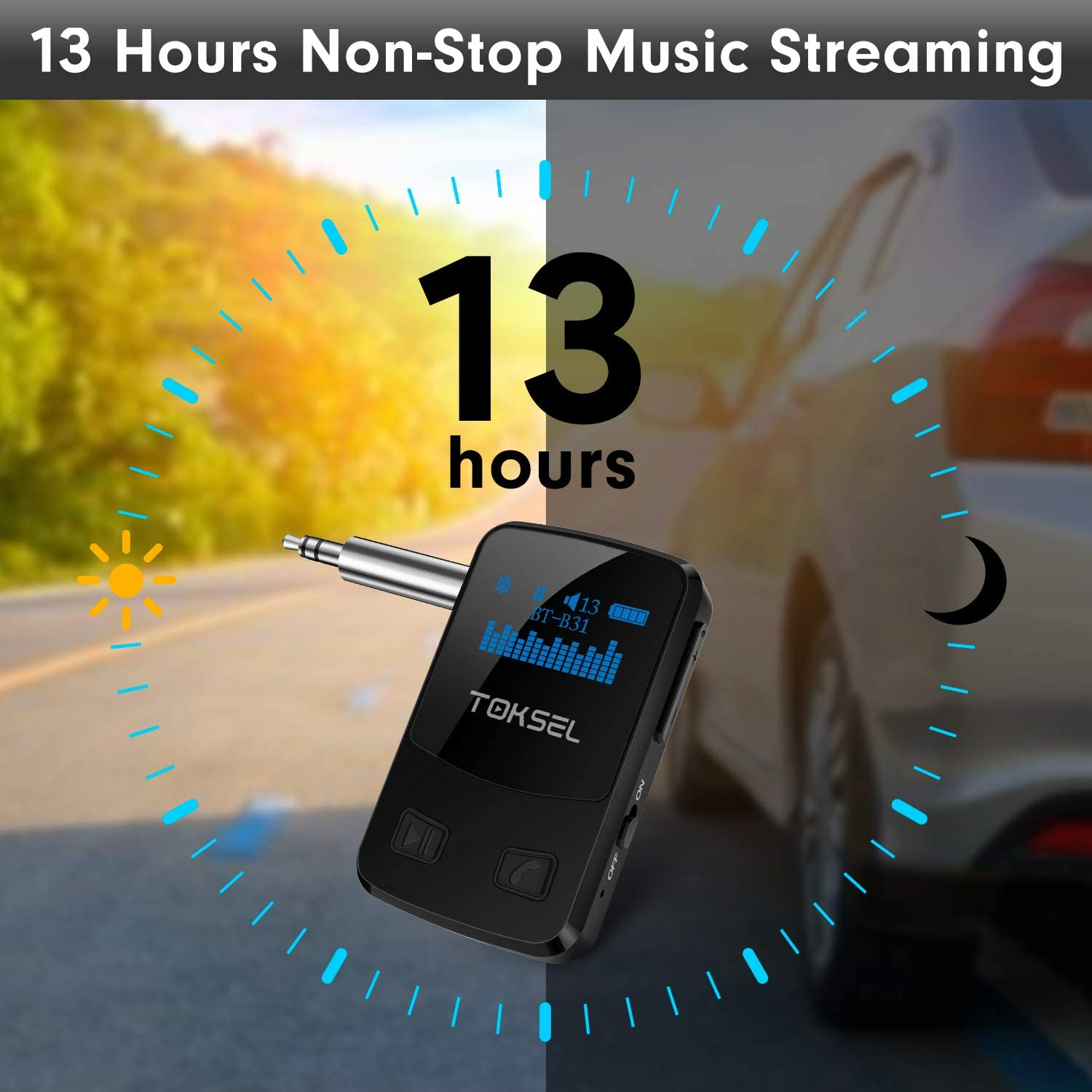 Bluetooth 5.0 Music Receiver with Display Screen TOKSEL Aux Bluetooth Adapter for Car 13-Hour Battery Life 3D Surround Sound for Home Stereo CVC8.0 Noise Cancelling Handsfree Calls