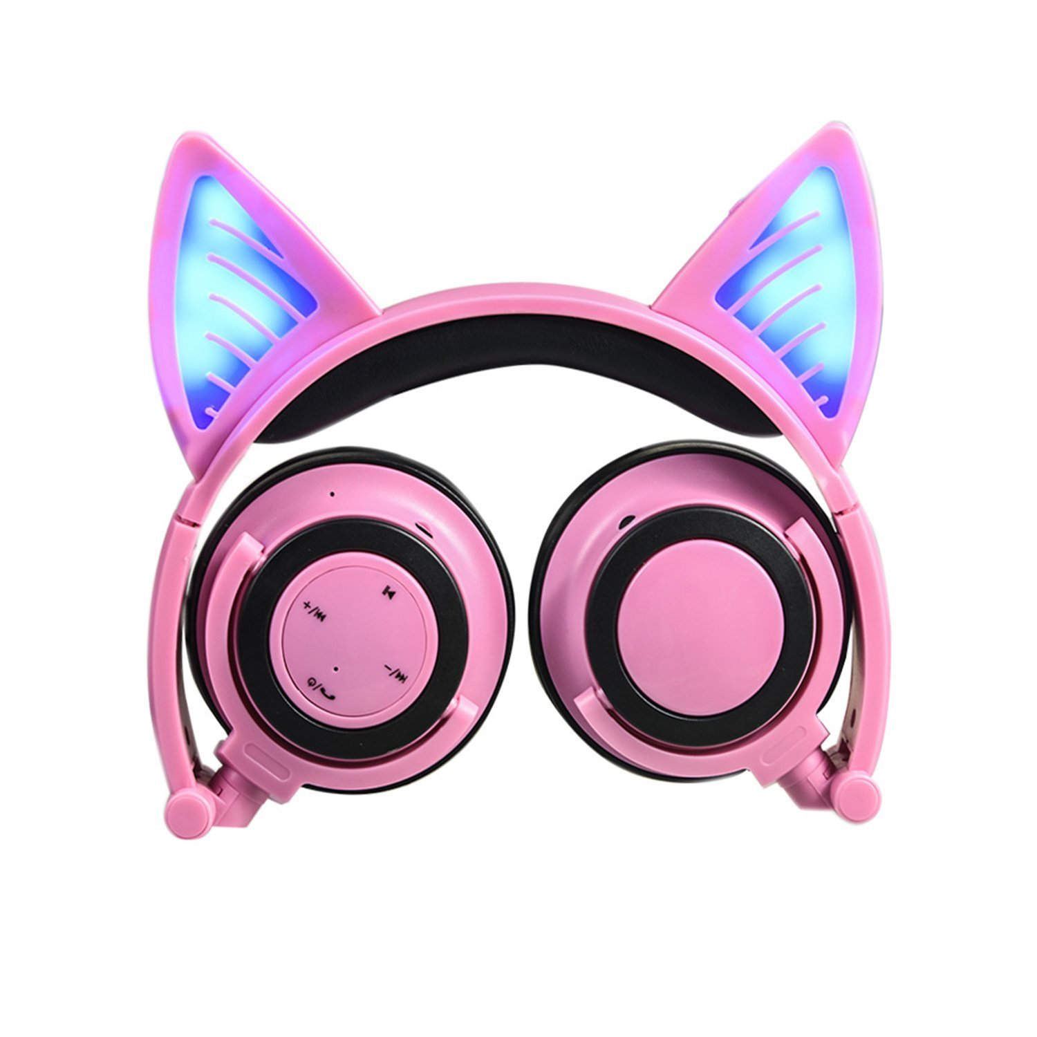 Wireless Bluetooth Cat Ear Headphones Adult, Topways Headset Flashing Glowing Cosplay Fancy Cat Headphones Foldable Over-Ear Earphone with LED Flash Light for Android Mobile Phone,Macbook (Pink)