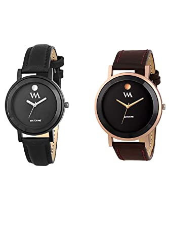 Watch Me Wrist Analogue Watch Set Combo for Couple Men and Women (Multicolour)