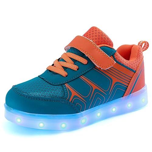 e5d9112b4bb DoGeek Zapatos Led Blanco Negras LED Zapatillas Luces Luminosos Zapatillas  7 Color USB Carga Led Deportivos para Hombres Mujeres(Elegir 1 Tamaño Más  ...