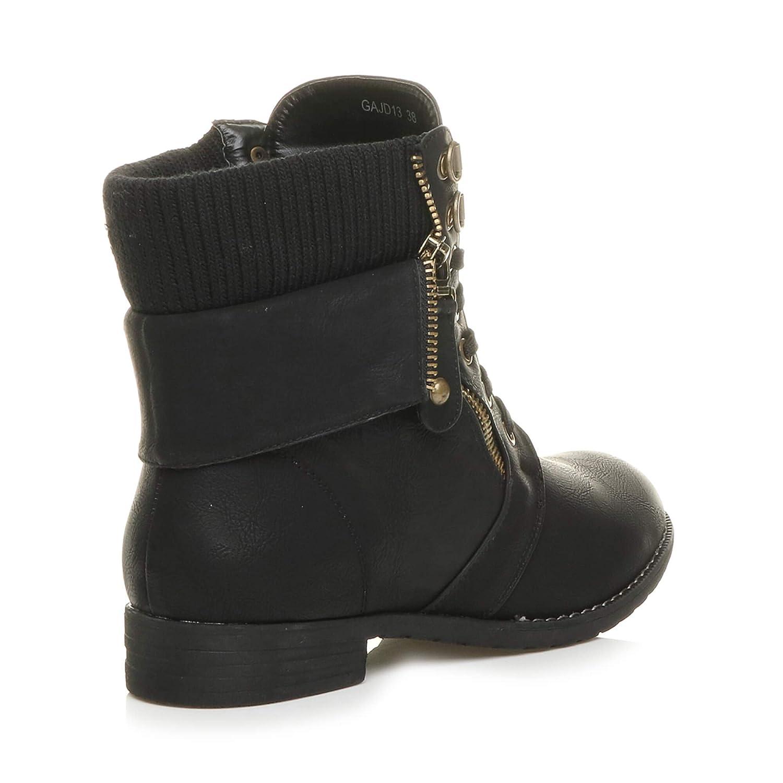 2122e3e71f7a31 Damen Schnüren Reißverschluss Strickkragen Biker Worker Boots Stiefel Schuhe  Militär Stiefeletten Größe  Amazon.de  Schuhe   Handtaschen