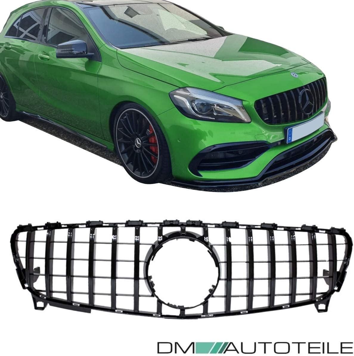 DM Autoteile Sport-Panamericana K/ühlergrill Schwarz passend f/ür W176 Mopf 15-19
