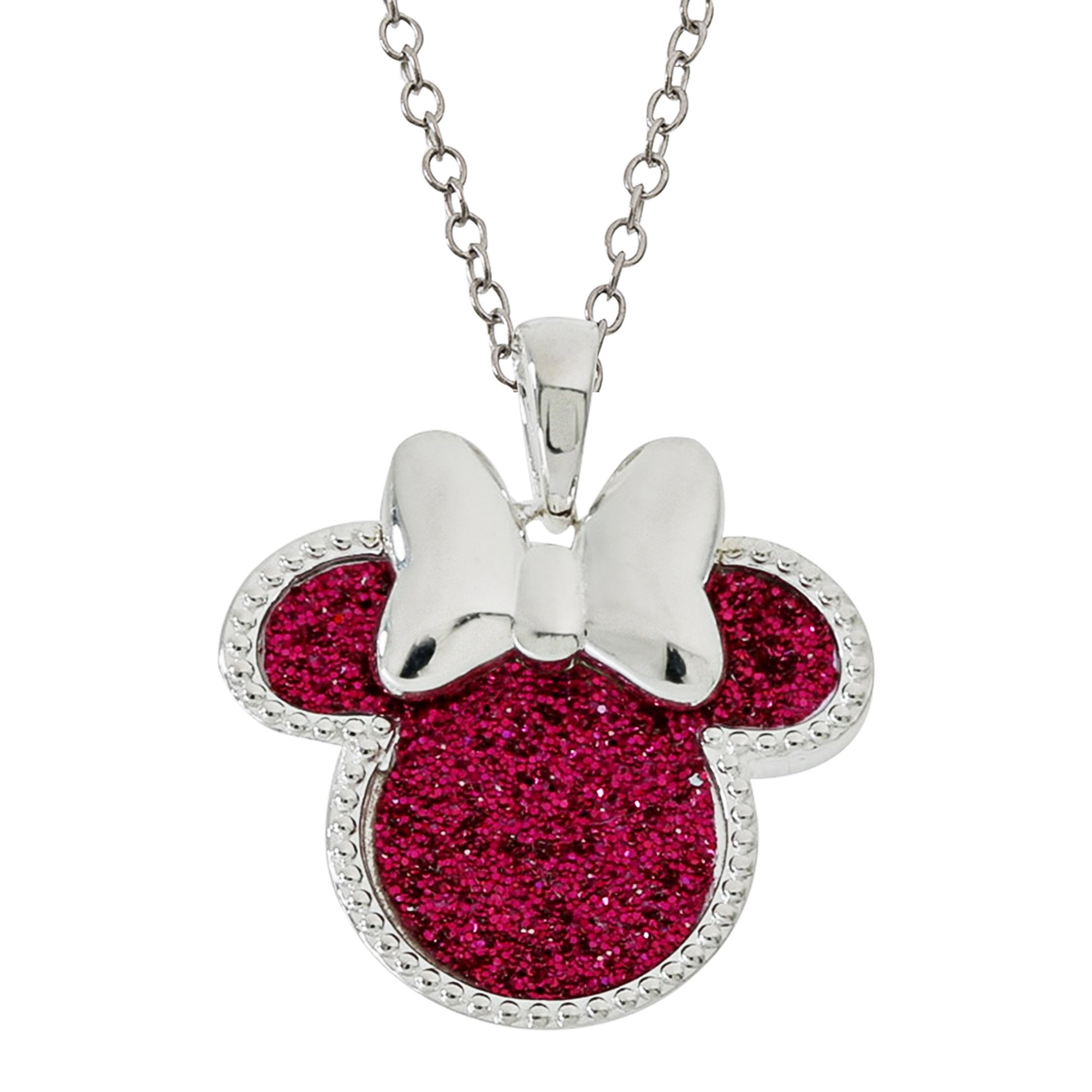 Disney Women's and Girls Jewelry Minnie Mouse Silver Plated Pink Glitter Pendant Necklace, 18'' Mickey's 90th Birthday Anniversary