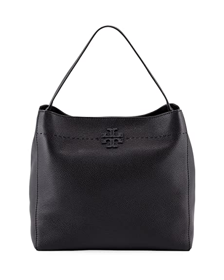 b47a743bfe8 Tory Burch McGraw Pebbled Leather Hobo Bag (Black): Amazon.ca: Shoes ...