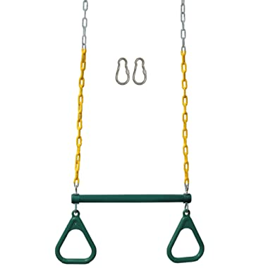 Jungle Gym Kingdom 18  Trapeze Swing Bar Rings 48  Heavy Duty Chain Swing Set Accessories & Locking Carabiners (Green)