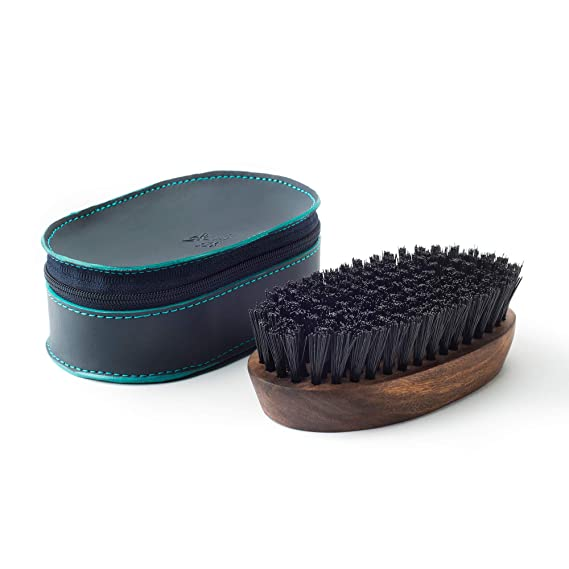 [Apply coupon] Bombay Shaving Company Beard Brush made with Sheesham Wood and Free Faux Leather Pouch - Big
