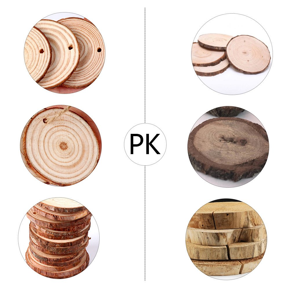 AerWo 50pcs Hanging Wood Slices + 50pcs Twines, Unpainted Natural Round Blank Wood Slices, DIY Craft Rustic Wedding Decoration Vintage Wedding Ornaments by AerWo (Image #3)
