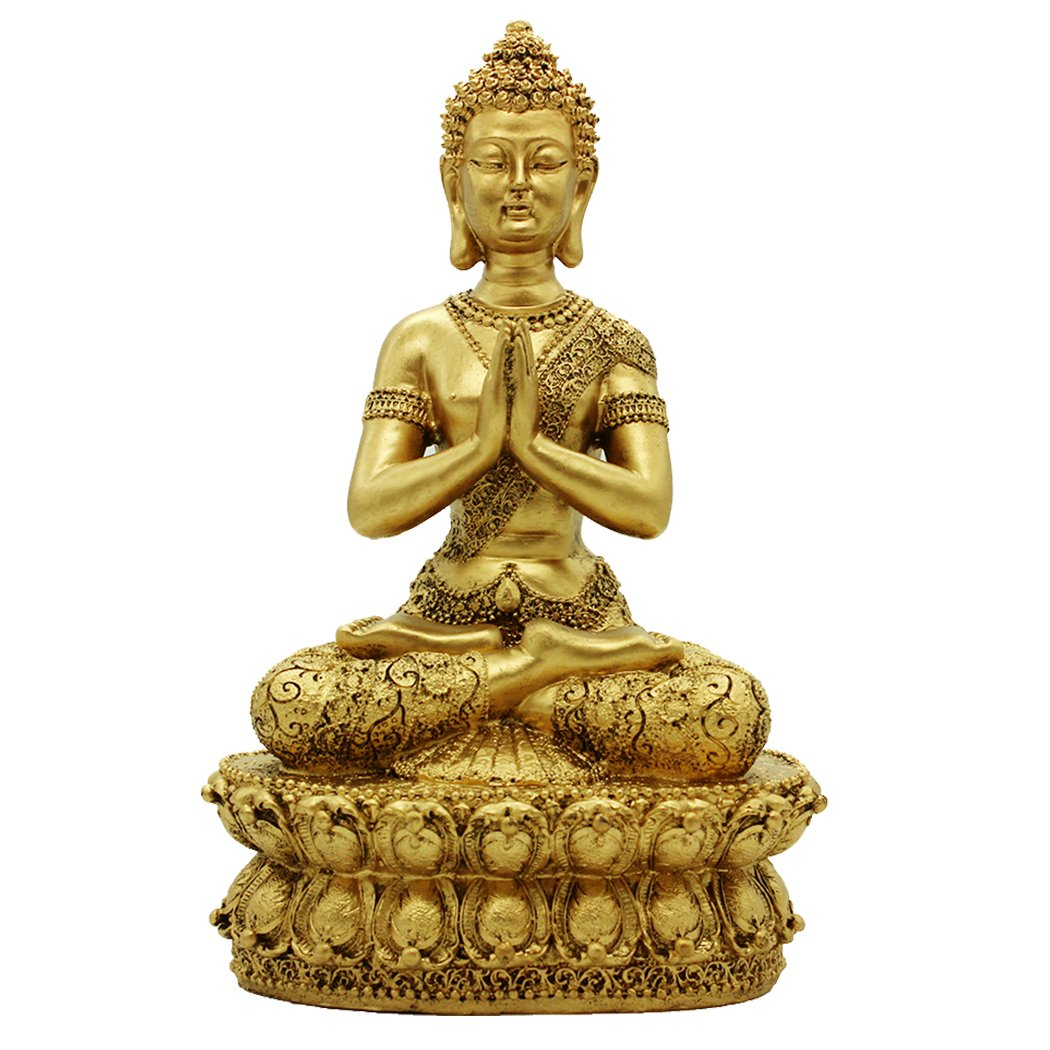 13.19''(H)Gold Resin Meditation Buddha Sculpture Home Decor Housewarming Gift BS113