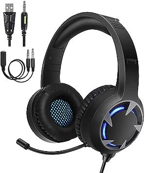 Samoleus Gaming Auriculares con Microfono, Cascos Gaming PS4 PC ...