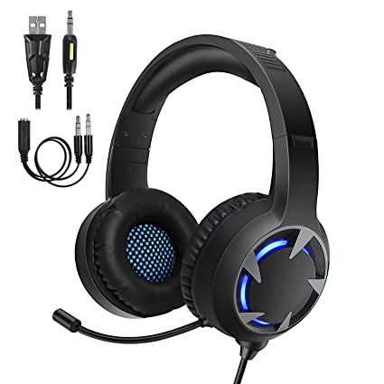 Samoleus Gaming Auriculares con Microfono, Cascos Gaming PS4 PC Xbox One, Cascos Gamer, Headset Cascos Jack 3.5mm, Luz LED con Switch, PC, ...