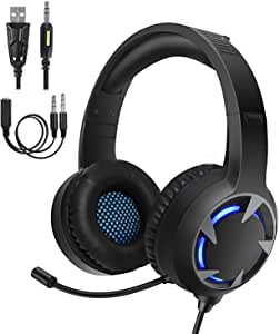 Turnraise Stereo Gaming Headset for PS4,PC,Xbox One Controller,Over-Ear Headphones with Noise Cancelling Soft Memory Ear Pads, LED Light,Bass Sound,Compatible for,Laptop,Tablet,Smartphone