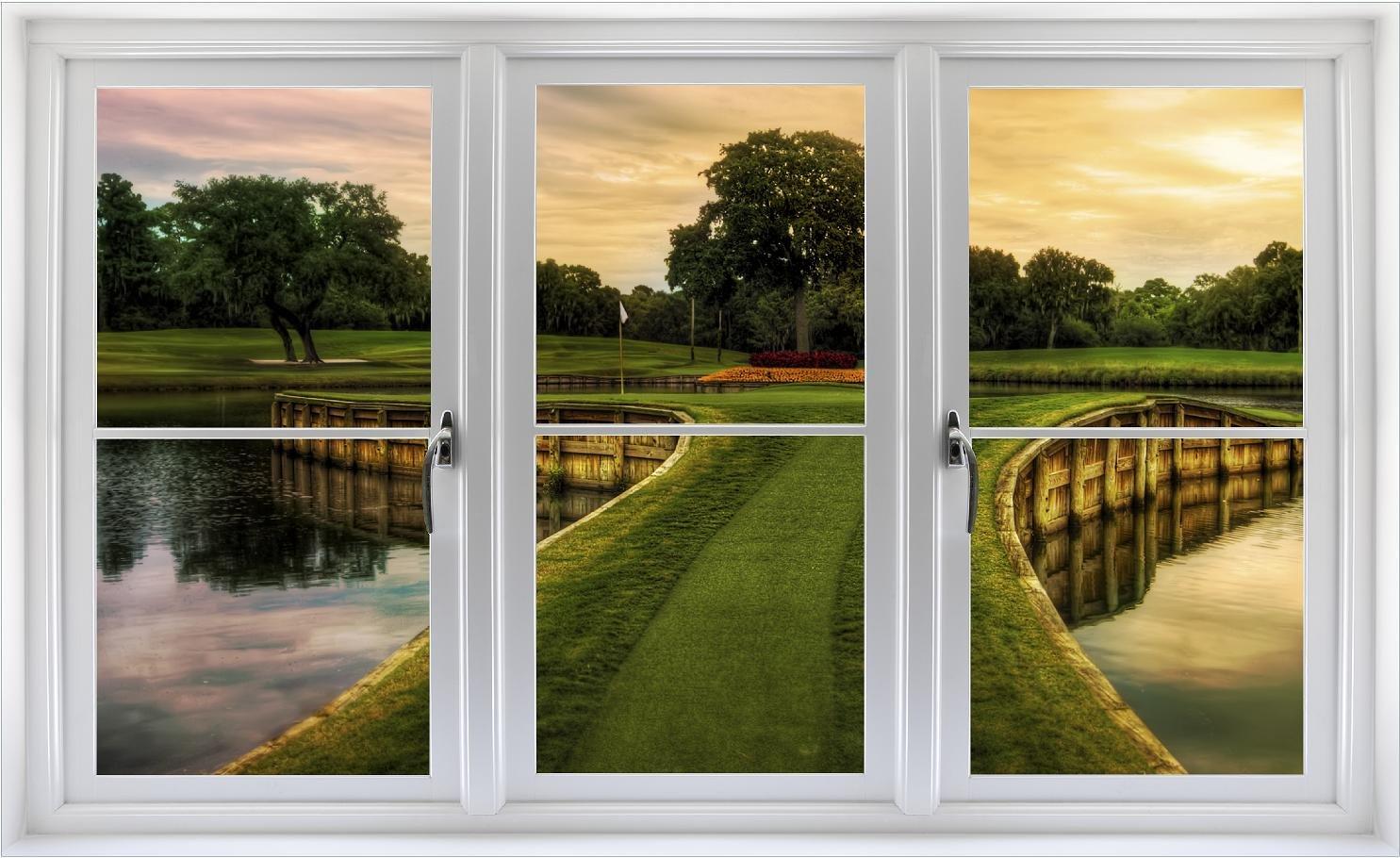 24'' Golf Course Window Decal Hole 17 TPC Sawgrass WindowScape PGA Florida Wall Graphic Decal Sticker Home Kids Game Room Mural Art Decor NEW