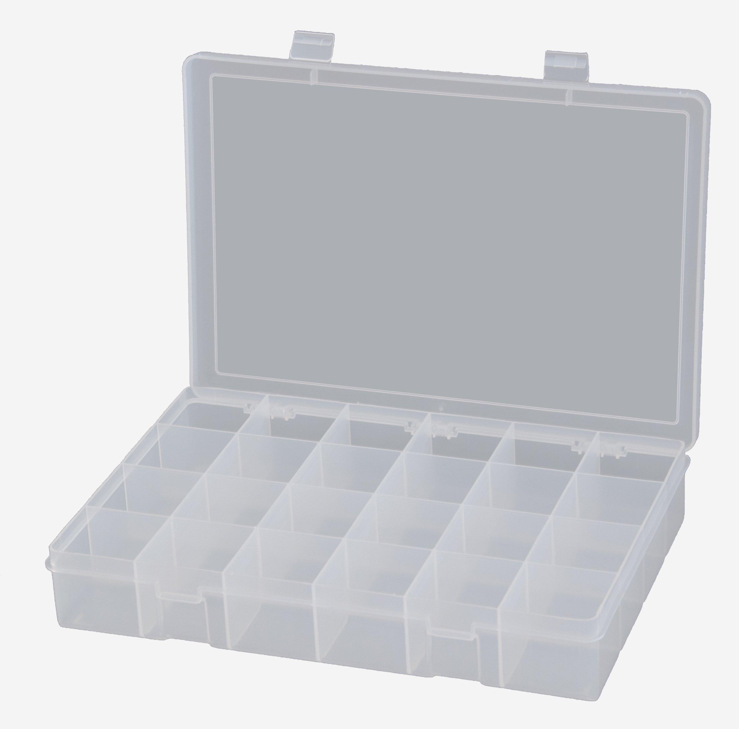 Durham LP24-CLR Polypropylene Large Box, 24 Compartment, 9'' Length x 13-1/8'' Width x 2-5/16'' Height, Clear by Durham