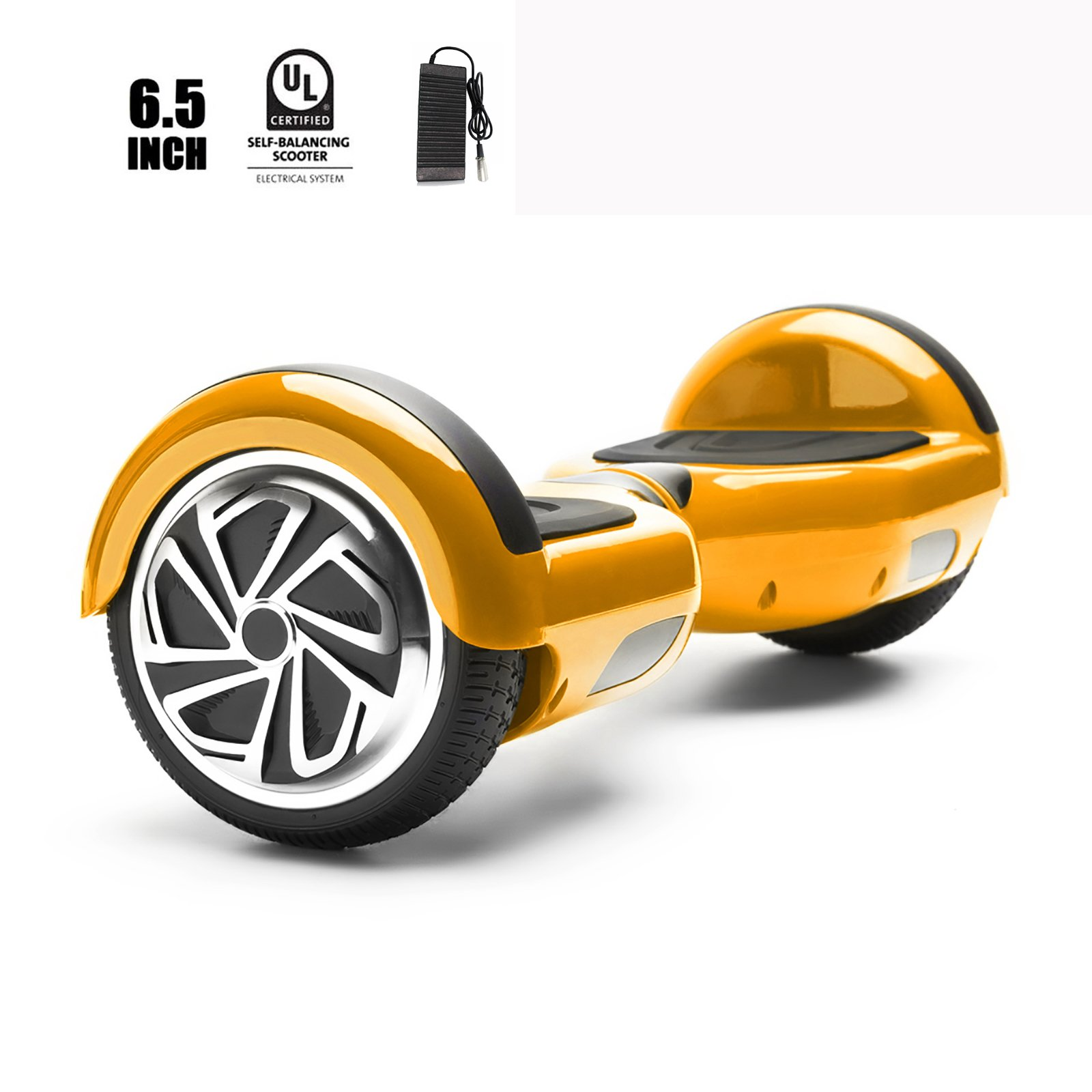 Hoverboard 6.5'' Inch Bluetooth 2 Wheels Elektro Smart Balance Board Scooter UL Certified! + Bag (Gold)
