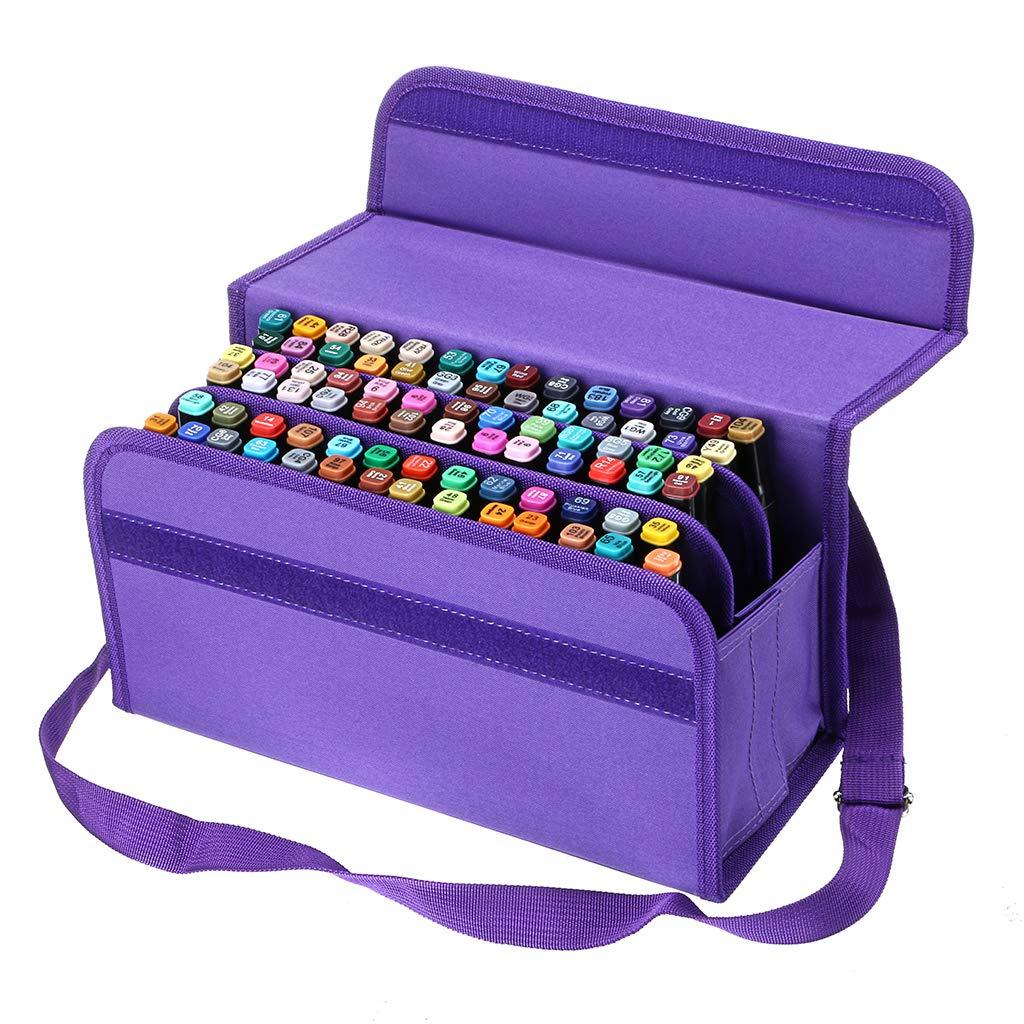BTSKY Handy 80 Slot Carrying Lipstick Organizer Marker Case Holder for Copic Prismacolor Touch Spectrum Noir Paint S, Purple 4336939785