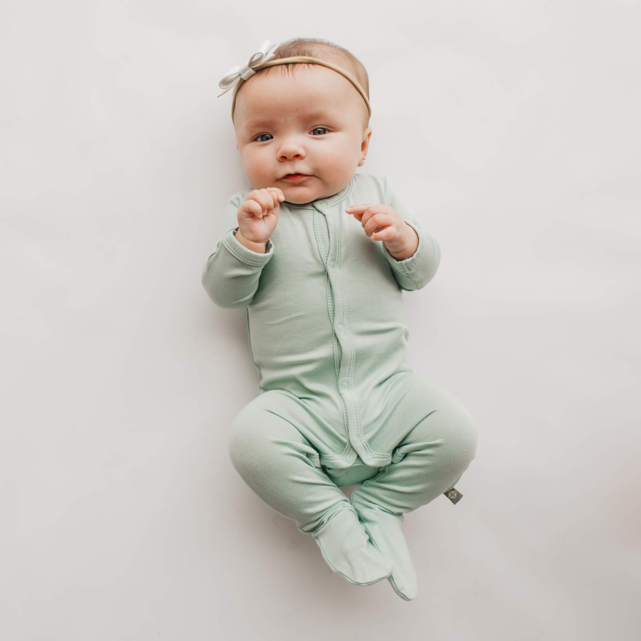 Baby Footed Pajamas Made of Soft Organic Bamboo Material KYTE BABY Footies 3-6 Months, Sage 0-24 Months Solid Colors