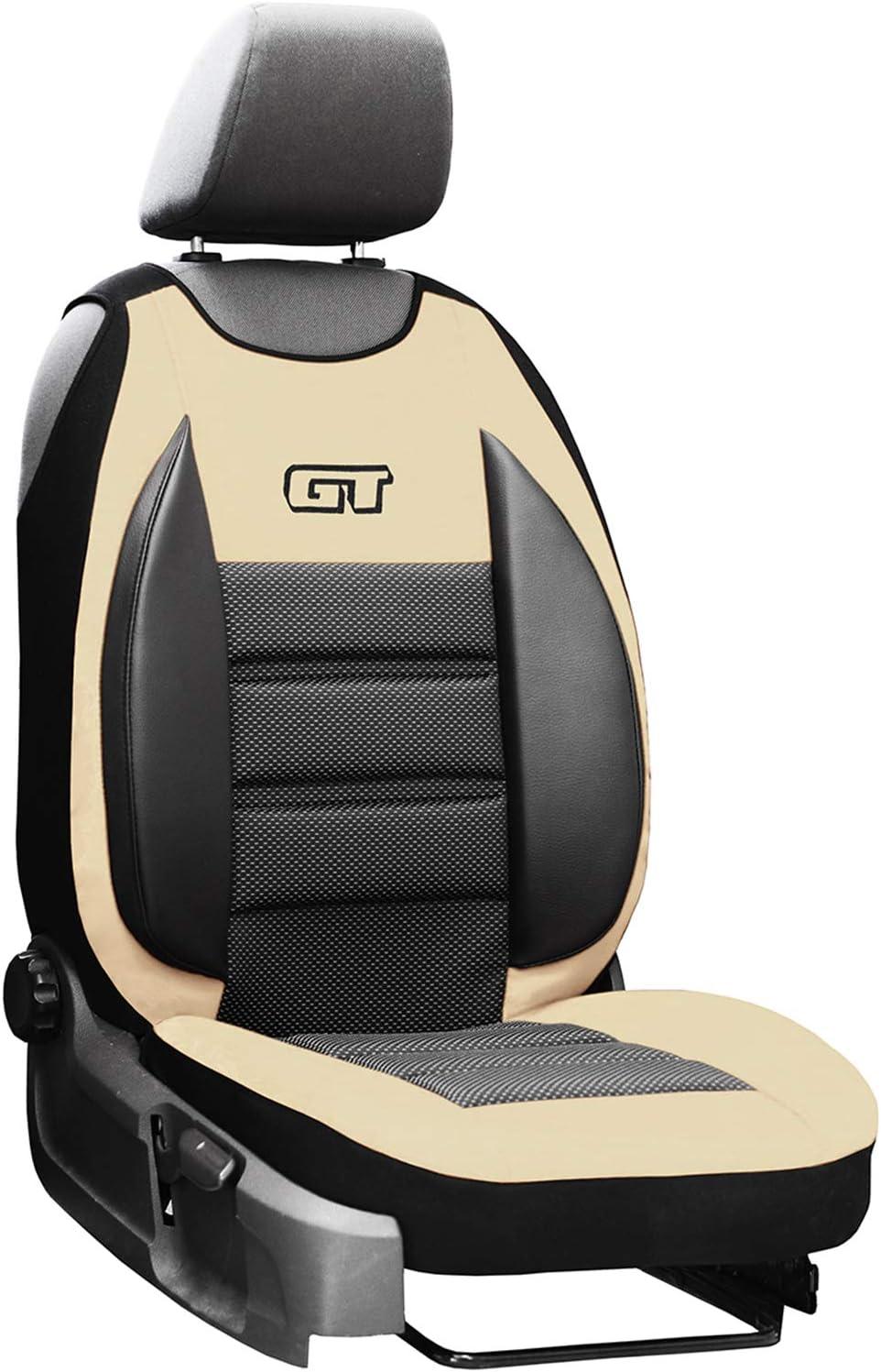 saferide Sitzauflage Auto Vordersitze Autositzmatte Wasserdicht Autositzbezug Fahrersitz Universal Sitzschutz Kunstleder Beige mit Airbag 1 Autositz Vorne