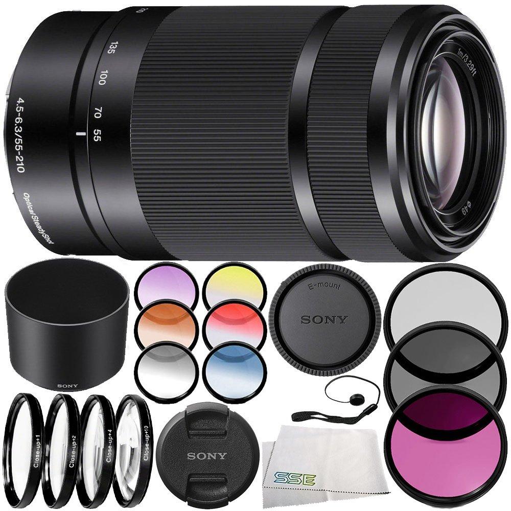Sony E 55-210mm f/4.5-6.3 OSS Lens (Black) 10PC Accessory Bundle – Includes 3PC Filter Kit (UV + CPL + FLD) + 4PC Macro Filter Set (+1,+2,+4,+10) + MORE