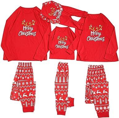 Fossen MuRope 2 Piezas Pijama Familiar a Juego Navidad Merry Christmas Pijamas Navideños Familiares Iguales Bebe Niña Pijama Mujer Hombre Invierno