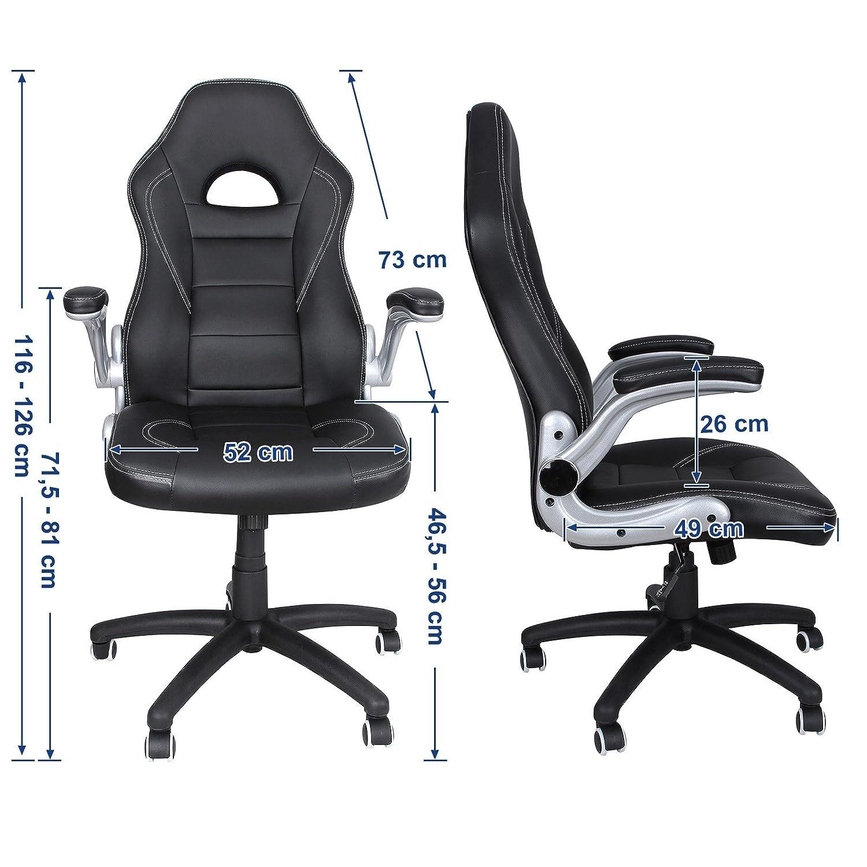 SONGMICS Racing Racing Racing Stuhl, ergonomischer Bürostuhl mit klappbaren Armlehnen und hoher Rückenlehne, höhenverstellbar, schwarz, grau und weiß, OBG28G fea9e3